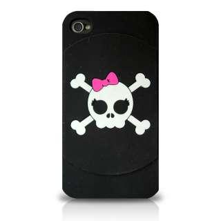iPHONE 4 4G   PREMIUM SOFT SILICONE RUBBER CASE COVER BLACK WHITE LADY