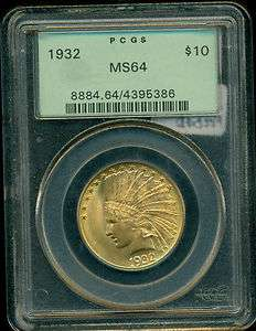 United States $10 Indian Head Gold Eagle PCGS MS64 OLD GREEN HOLDER