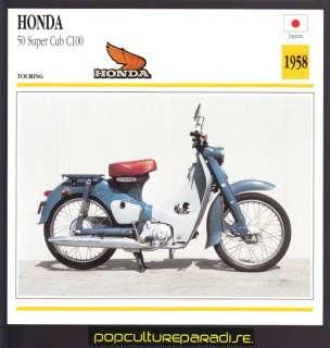 1958 HONDA 50 Super Cub C100 MOTORCYCLE SCOOTER CARD |