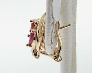 Ruby Diamonds Solid 14k Yellow Gold Huggie Clip Earrings