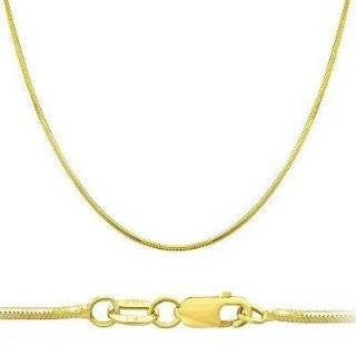 14k Solid Yellow Gold Round Snake Chain Necklace 1mm 16 Jewelry