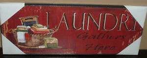 LAUNDRY GATHERS HERE WOOD WALL PLAQUE~ART SIGN~BAR~RED