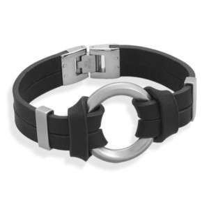 Stainless Steel Black Leather Mens Ring Bracelet
