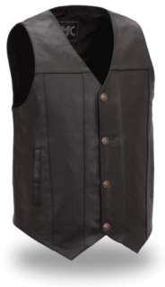Mens Black Leather Buffalo Nickel Snap Motorcycle Vest