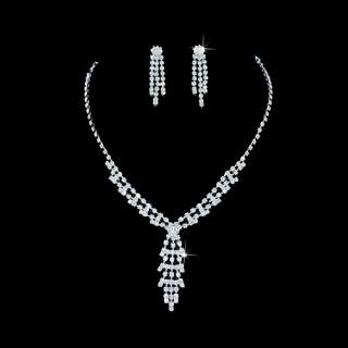 Bridal Jewelry Set Austrian Crystal Rhinestone Y Drop3
