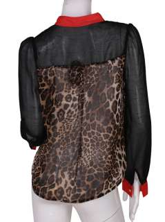 COLOR BLOCK STAND UP COLLAR LEOPARD PRINT CHIFFON LONG SLEEVE SHIRT