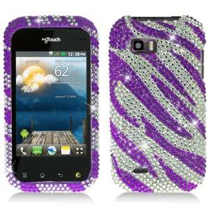 For T Mobile LG myTouch Q Crystal BLING Case Phone Cover Silver Purple