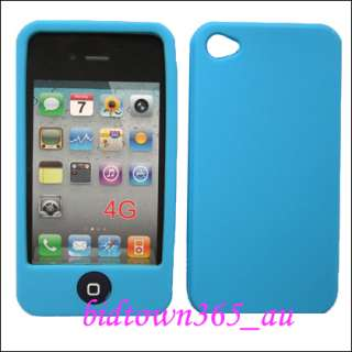 Light Blue Soft Gel Rubber Silicone Case Cover Skin Pouch For iPhone 4