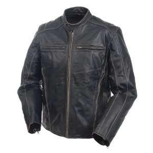 Mossi Mens Drifter Premium Leather Jacket 44 Antique Black