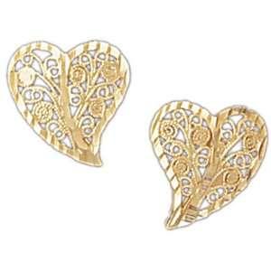 14kt Yellow Gold Filigree Heart Shaped Earrings Jewelry