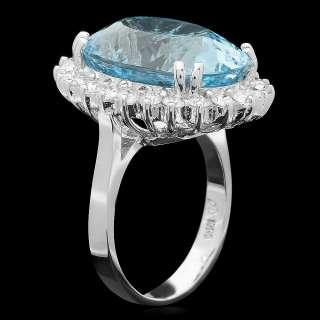18750 CERTIFIED 14K WHITE GOLD 13.50CT AQUAMARINE 1CT DIAMOND RING