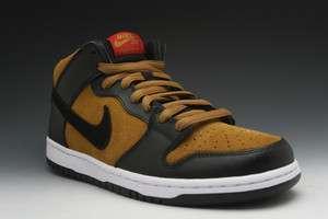 Nike Dunk Mid Pro SB Mens Sneakers in Golden Hops/Black/Varsity Red
