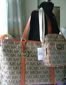 Michael Kors Monogram Bag Tote Leather Gold Orange Brown XL Travel