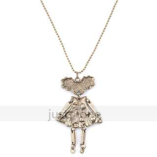 Charm Retro Bowknot Cute Crystal Golden Girl Pendent Sweater Long
