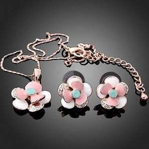 lovely necklace earrings Set pink rose Gold GP Swarovski Crystals