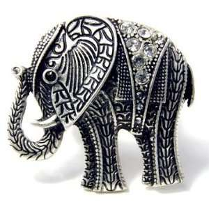 Clear Crystal Large Elephant Ring   Adjustable Stretch Band Jewelry