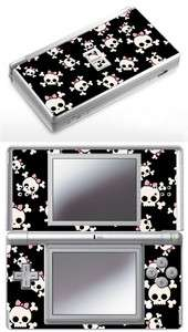 Nintendo DS Lite  Girly Skulls Skin. Pink bow rockabilly skull girl