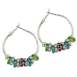 Silvertone Multi Color Rhinestone Hoop Earrings Fashion Jewelry