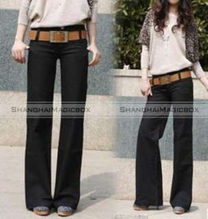 Women Lady Fashion Vintage Wide Leg Slim Casual Pants Trousers Large