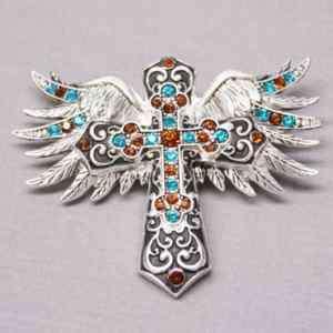 Blue Topaz Rhinestone Winged Cross Magnetic Pendant