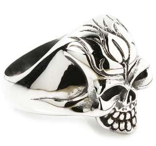 FLAME SKULL 316L STAINLESS STEEL BIKER RING Sz 8.5 NEW TOP QUALITY