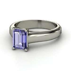 Sleek Emerald Cut Solitaire Ring, Emerald Cut Tanzanite 14K White Gold