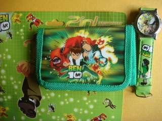 Cartoon Gift Set Wallet Purse Card Coin Holder + watch of Ben 10 S