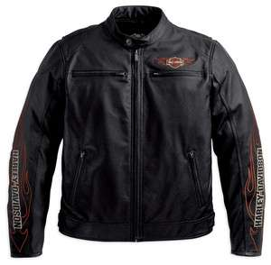 Mens Harley Davidson Ride Ready Leather Jacket with flame design