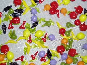 Adorable Vintage Plastic Fruit Salad Bead Charm Mix