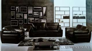 Grand dark brown Leather sofa loveseat chair set couch home or office