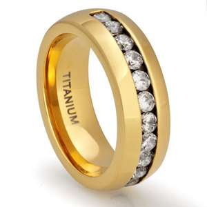 18K Gold Plated Ring Wedding Band Simulated Diamond Jewelry 2507 8MM_W