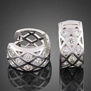 18k white gold GP SWAROVSKI crystal earrings studs E62