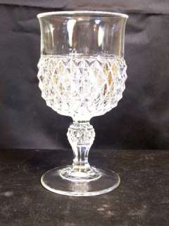 Indiana Glass Diamond Point by Tiara Water Goblet Crystal Clear