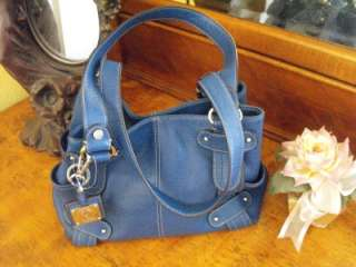 New Tignanello Saphire Blue Leather Handbag Satchel Purse