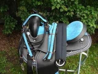 17 BLUE BLING BLACK WESTERN HORSE SADDLE ARAB BARREL HEADSTALL COLLAR