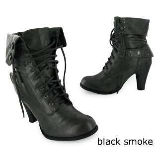 NEW LADIES MILITARY ARMY LACE ANKLE HEEL BOOTS SIZE 3 8