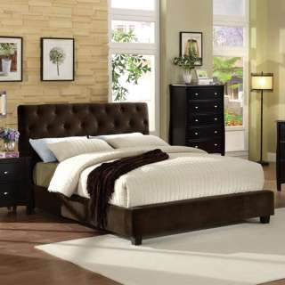 Cordell Espresso Finish Velvet Platform Bed Frame Set