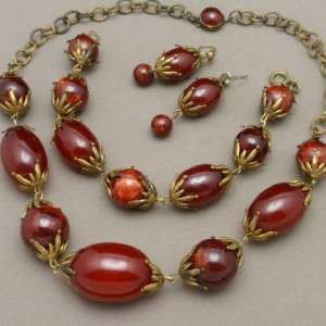 Deep Red Set Necklace Bracelet Earrings Vintage Celluloid Chunky
