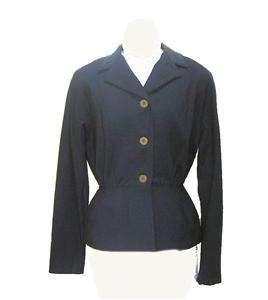 Vintage 1940s Film Noir Navy Blue long Sleeved Jacket with Peplum Med