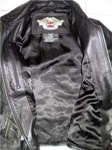 Harley Davidson Isis Elaborate Eagle Style Black Leather Jacket