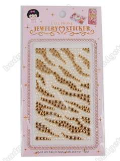 Stripe Rhinestone Bling Decal Case Cover Faceplate For iPhone 4/ 4S