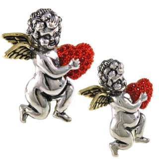 RED HEART SILVER TONE ANGEL PIN BROOCH RHINESTONE P132