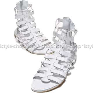 Runway Mens Gladiator Roman Leather Ankle Boots Sandals