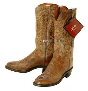 LUCCHESE (1883) Tan Burnished Mad Dog Goat Cowboy Boots Mens 6 D $320