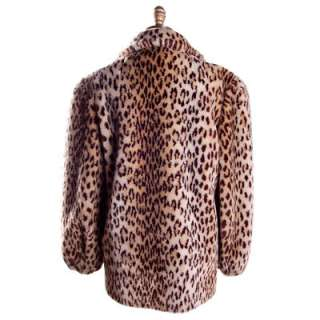 Vintage Faux Leopard Print Plush Short Coat 1980S