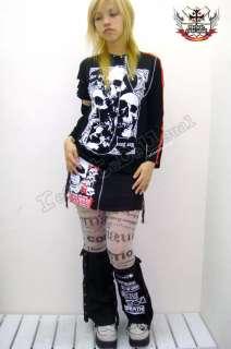 Punk Rock Mini Denim Skirt+Suspender HINGED LEG Warmer