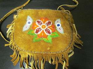 NATIVE AMERICAN BEADED SOFT BUCKSKIN HAND BAG,BUTTERFLIES,FLOWERS