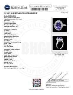 9000 CERTIFIED 14K WHITE GOLD 3CT TANZANITE 1.00CT DIAMOND RING