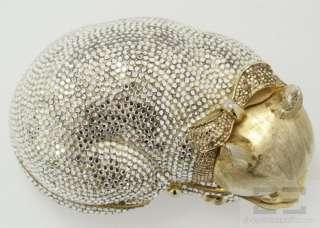 Leiber Gold Swarovski Crystal Sleeping Cat Minaudiere Clutch Handbag