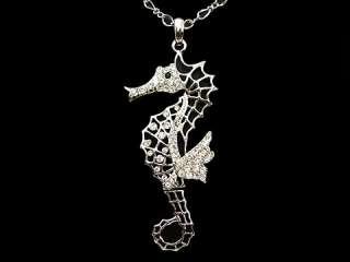 26 Big Sea Horse Animal USE SWAROVSKI Crystal Necklace